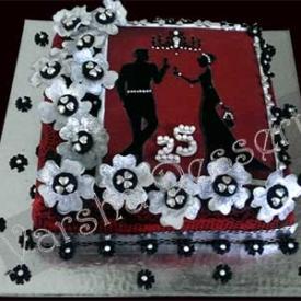 25TH WEDDING ANNIVERSRY CAKE