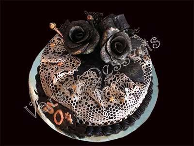Decoration Of Chocolate Truffle Cake : CHOCOLATE TRUFFLE WITH SUGARLACE DECORATION Varsha ...