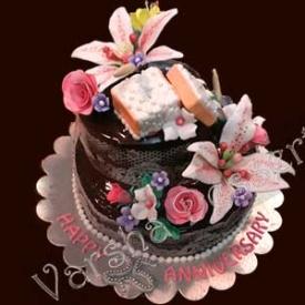 ENGAGEMENT FONDANT CAKE DECORATION(2-TIER)