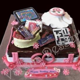 FONDANT THEME CAKE- MOM'S B'DAY