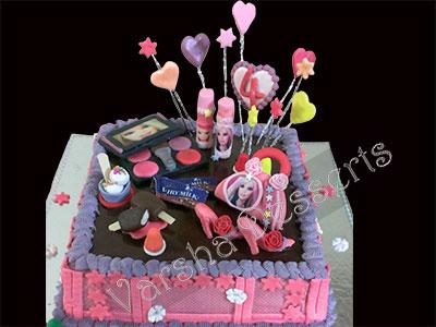 GIRL S B DAY FONDANT CAKE Varsha-Desserts-n-Cakes-Classes