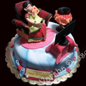 FONDANT THEME CAKE-MOM'S B'DAY
