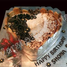 TIRAMISU CAKE WITH CHOCOLATE FONDANT DECORATIONS