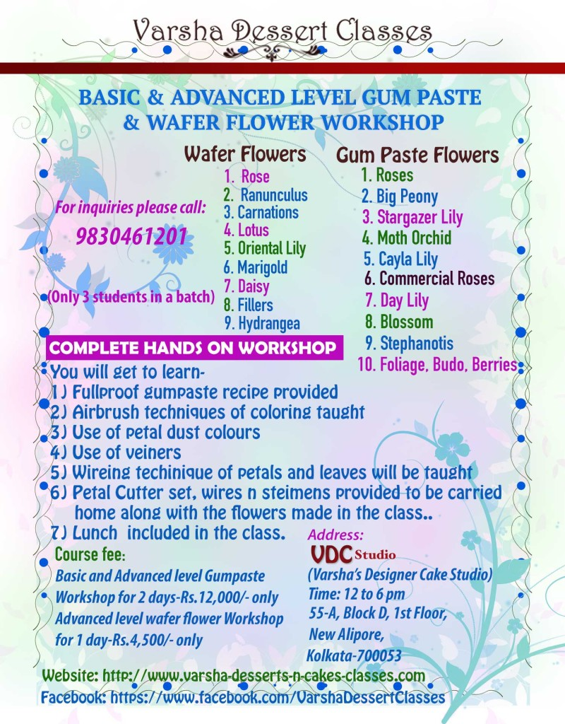 ADVANCED LEVEL GUM PASTE & WAFER FLOWER CAKE DECORATION WORKSHOP