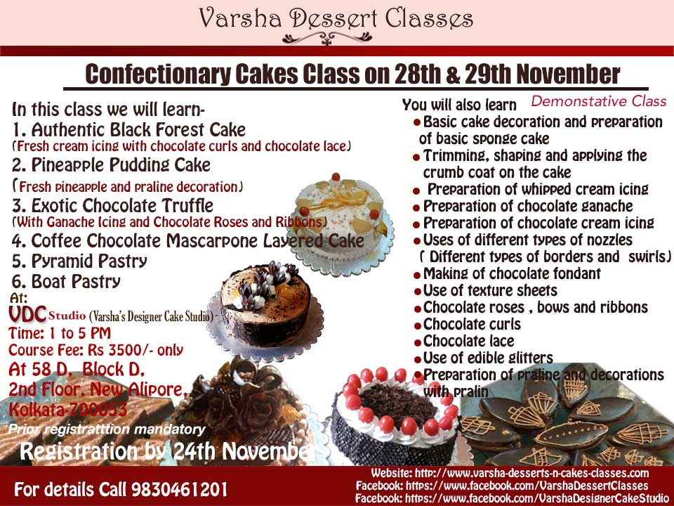 CONFECTIONERY CAKES CLASS ON 28TH & 29TH NOVEMBER