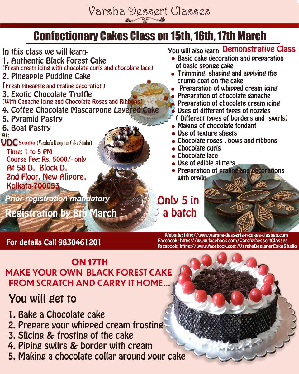 3 DAY CONFECTIONERY CAKES CLASS ON 15H, 16TH 17TH MARCH