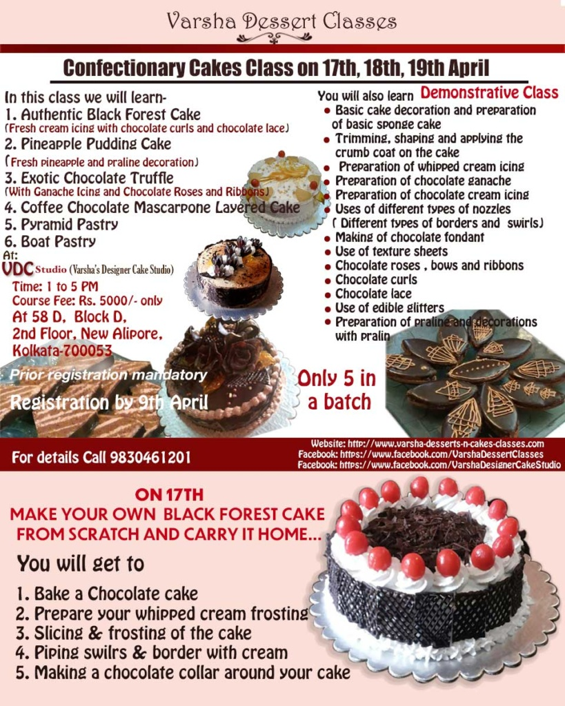 3 DAY CONFECTIONERY CAKES CLASS ON 17TH, 18TH, 19TH APRIL